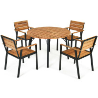 5 Pieces Patio Dining Chair Set with Umbrella Hole