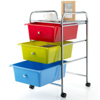 3-Drawer Rolling Storage Cart with Plastic Drawers for Office