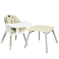 4 in 1 Baby Convertible Toddler Table Chair Set with PU Cushion