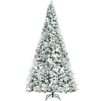 8 Feet Snow Flocked Hinged Christmas Tree with Berries and Poinsettia Flowers