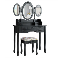 Vanity Set with Tri-Folding Mirror and Cushioned Stool