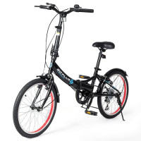 """20"""" Lightweight Adult Folding Bicycle Bike with 7-Speed Drivetrain Dual V-Brakes"""