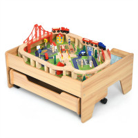 Children's Wooden Railway Set Table with 100 Pieces Storage Drawers