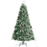 8 Feet Snow Flocked Hinged Christmas Tree with 1651 Branch Tips and Pine Cones