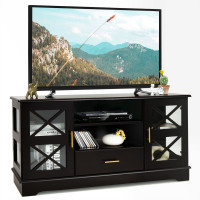 Glass Door TV Stand with Drawer Storage Shelves