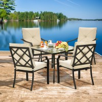 4 Pieces Outdoor Dining Chairs with Removable Cushions and Rustproof Steel Frame