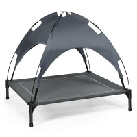 Portable Elevated Outdoor Pet Bed with Removable Canopy Shade