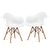 Set of 2 Mid-Century Dining Arm Chairs with Wood Legs