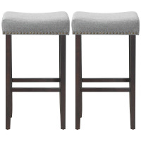 """2-PC 29.5""""  Saddle Wooden Bar Stools with Fabric Seat"""