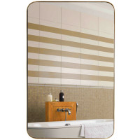 "32"" x 20"" Metal Frame Wall-Mounted Rectangle Mirror"