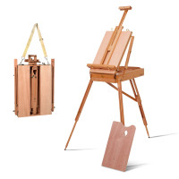 Tripod Folding French Wooden Easel with Sketch Box