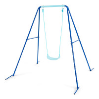 Outdoor Kids Swing Set with Heavy Duty Metal A-Frame and Ground Stakes