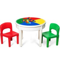 3-in-1 Kids Activity Table and 2 Chairs Set Includes 300 Bricks