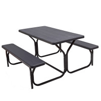 All Weather Outdoor Picnic Table Bench Set with Metal Base Wood