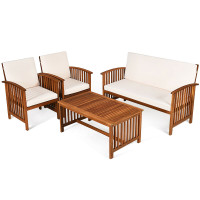 4 Pcs Patio Solid Wood Furniture Set with Water Resistant Cushions