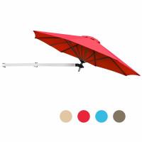8ft Wall-Mounted Telescopic Folding Tilt Aluminum Sun Shade Umbrella