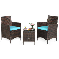 3 Pcs Patio Rattan Furniture Set Cushioned Sofa and Glass Tabletop Deck