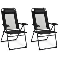 2 Pieces Patio Adjustable Folding Recliner Chairs with 7 Level Adjustable Backrest