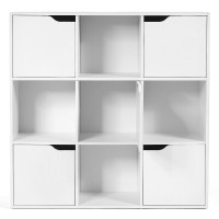 Free Standing 9 Cube Storage Wood Divider Bookcase for Home and Office
