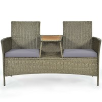 2-Person Patio Rattan Conversation Furniture Set with Coffee Table