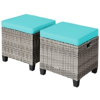2 Pieces Patio Rattan Ottoman Seat with Removable Cushions