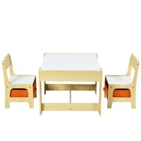 Kids Table Chairs Set With Storage Boxes Blackboard Whiteboard Drawing