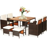 9 Pieces Patio Rattan Dining Cushioned Chairs Set