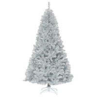 7.5 ft Hinged Unlit Artificial Silver Tinsel Christmas Tree