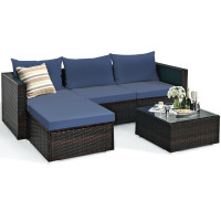 5 Pcs Patio Rattan Sectional Furniture Set with Cushions and Coffee Table