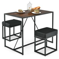 3 Pcs Dining Set Metal Frame Kitchen Table and 2 Stools