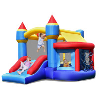 Castle Slide Inflatable Bounce House with Ball Pit and Basketball Hoop