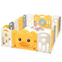 16-Panel Foldable Baby Playpen with Sound