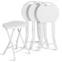 """Set of 4 18"""" Collapsible Round Stools with Handle"""