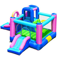 Inflatable Bounce Castle with Dual Slides and Climbing Wall without Blower