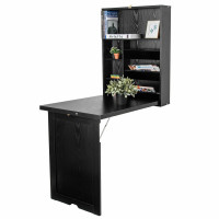 Wall Mounted Fold-Out Convertible Floating Desk Space Saver