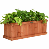 """2' x 4"""" Wooden Decorative Planter Box for Garden Yard and Window"""