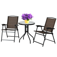 3 Pieces Bistro Patio Garden Furniture Set of Round Table and Folding Chairs