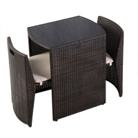 3 Pcs Wicker Patio Cushioned Outdoor Chair and Table Set