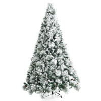 8 Feet Snow Flocked Christmas Tree Glitter Tips with Pine Cone and Red Berries