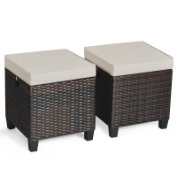 2 Pieces Patio Rattan Ottoman Cushioned Seat