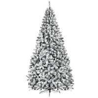 9 Feet Artificial Christmas Tree with Premium Snow Flocked Hinged