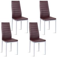 4 Pcs PVC Elegant Design Leather Dining Side Chairs