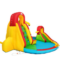 Kids Inflatable Water Slide Bounce House with Climbing Wall and Pool Without Blower