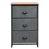 Nightstand Side Table Storage Tower Dresser Chest with 3 Drawers