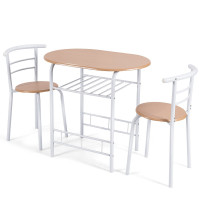 3 Pieces Home Kitchen Bistro Pub Dining Table 2 Chairs Set