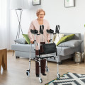 Folding Auxiliary Walker Rollator with Flip-Up Brakes and Seat Bag