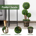 30 Inch Artificial Topiary Triple Ball Tree Indoor and Outdoor UV Protection