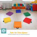 """6 Piece 15"""" Square Toddler Floor Cushions Flexible Soft Foam Seating with Handles"""