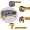 Patio Convertible Solid Wood Sofa with Cushion