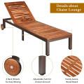 Patio Acacia Wood Lounge Chair Chaise Recliner